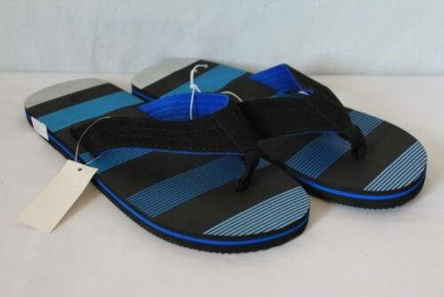 NEW Mens Flip Flops Size Medium 8-9 Black Blue Sandals Cloth Straps Pool Beach