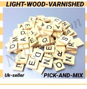 Wooden-Scrabble-Individual-Tiles-Letters-Crafts-Alphabet-LIGHT-WOOD-VARNISHED