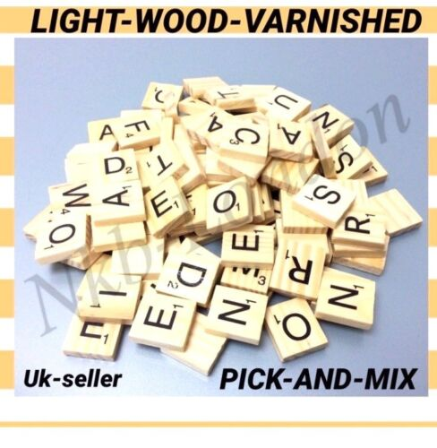 Wooden Scrabble Individual Tiles Letters Crafts Alphabet LIGHT WOOD VARNISHED