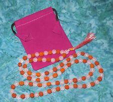 Rose Quartz Rudraksha Prayer Mala NEW 8mm Bead Necklace Meditation Healing Luck