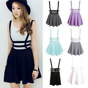97af5e38c2 Image is loading Women-Hollow-Mini-Skater-Straps-Suspender-Skirt-Cute-