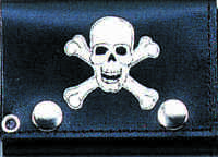4 Skull And Crossbones Leather Wallet With Chain Biker Wallet Usa Shipper
