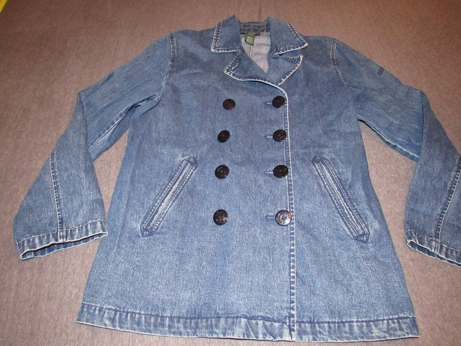 WOMENS LAUREN RALPH LAUREN NAUTICAL DENIM JEAN PEACOAT SIZE PETITE MEDIUM