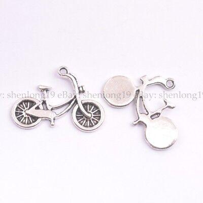 Wholesale 10Pcs Tibetan Silver bicycle Charms Pendants Jewelry 26x18MM E143