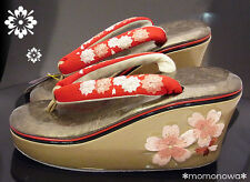 Geisha Maiko Sandal Koppori Okobo Geta Red & Cherry-blossom KYOTO Kimono NEW