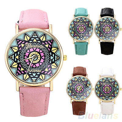 Women Geneva Retro Magic Compass Dial Golden Case Faux Leather Band Wrist Watch