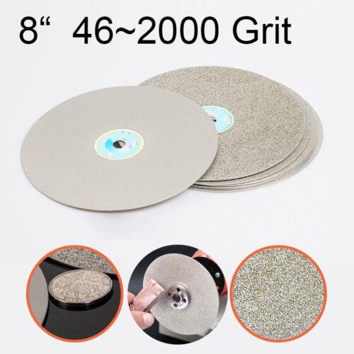 8 Diamond Coated Flat Lap Wheel Lapidary Grinding Polishing Disc 46~2000 Grit