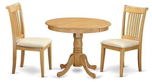 Pc Round Dining Table Set In Smooth Oak