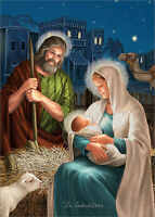 Jesus, Mary And Joseph Die Cut With Glitter Box Of 12 Religious Christmas Cards