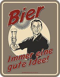Fun-Placa-de-chapa-cerveza-IMMER-Eine-GUTE-idee-LETRERO-ALUMINIO-GRABADO