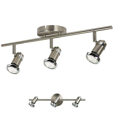 3 Light Track Lighting Wall or Ceiling Spot Light Fixture, Brushed Nickel