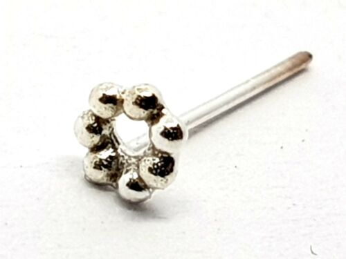 0.6mm 925 Silver Straight L Bendable Stud Nose Stud Bead Circle 7 Ball 22g