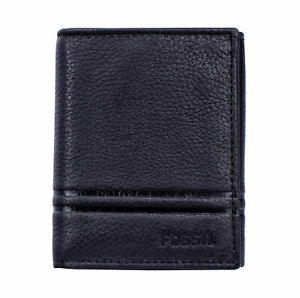 Fossil-ML4006001-Wilder-Men-039-s-Black-Leather-Trifold-ID-6-Card-Slot-Wallet