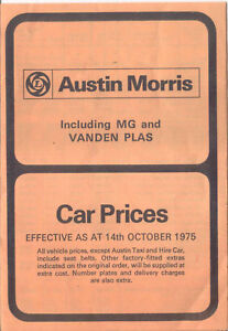 Austin Morris Mg Vanden Plas Uk Price List 1975 Oct Mini Allegro
