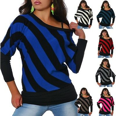 Damen Strick Pullover Pulli Sweater Shirt Longshirt Tunika Bluse Streifen   412 d358bff9f3