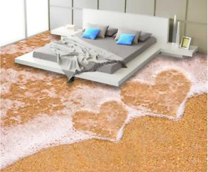 3D playa romántica Piso impresión de parojo de papel pintado mural 60 5D AJ Wallpaper Reino Unido Limón