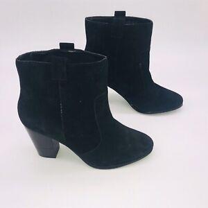 FAITH Black Suede Leather Block Heeled