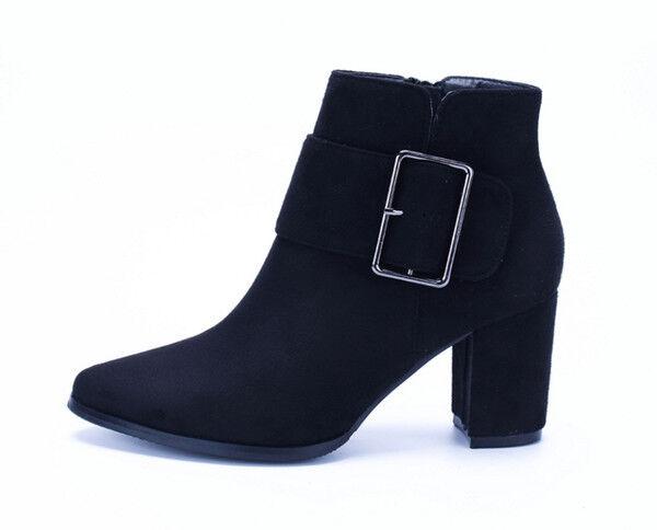 botas elegantes bajo cómodo 7.5 cm negro botas militares como piel CW777