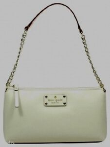 thin kate spade off white CREAM LEATHER SHOULDER BAG gold chain ...