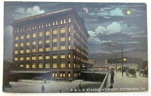VINTAGE-1915-POSTCARD-P-amp-L-E-STATION-PITTSBURGH-PA-RAILWAY-railroad