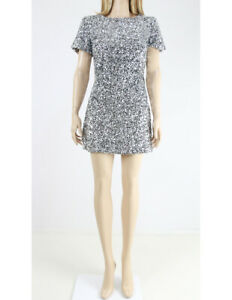 Jack-Wills-Silver-Fully-Sequined-Evening-Mini-Party-Evening-Dress-UK-8-36