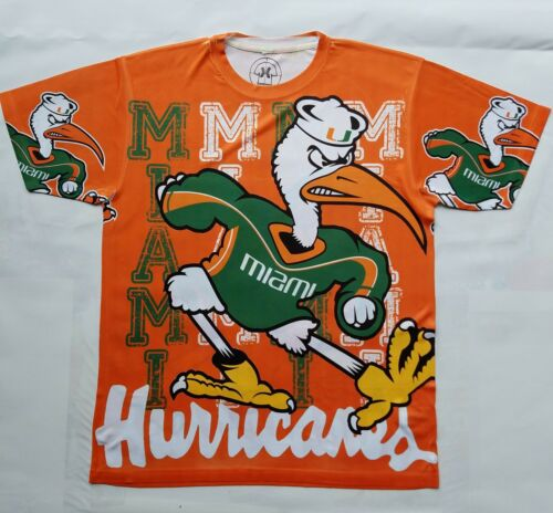Custom Miami Hurricanes T shirt sublimation college football basketball Florida