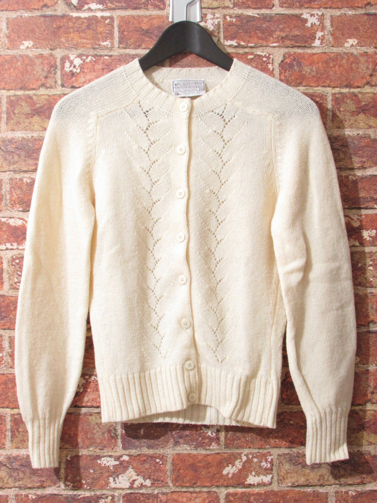 VTG 60's 70's Pendleton 34 XS Ivory Off White Sweater Jumper Cardigan Cableknit