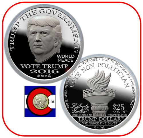 Type II Coin 2016 Trump Proof-Like Silver Liberty Dollar in airtite