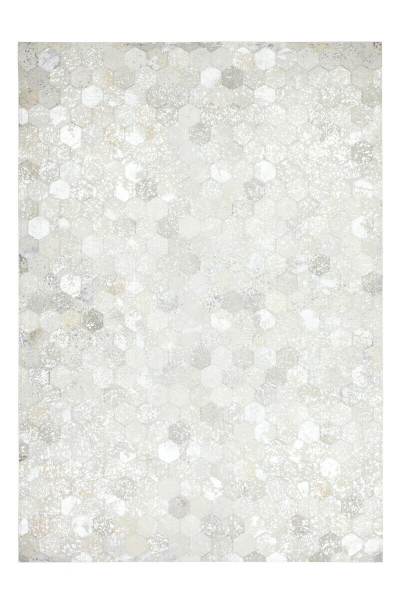 Cuir Tapis handgefertigkt patchwork Patch Design Crème Beige Argent 80x150cm