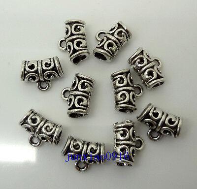 10pcs Metal Tibetan Silver Bending Big Hole Charm Pendant Loose Spacer Beads