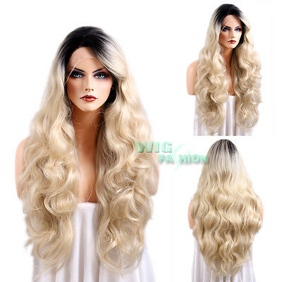 "20""-26"" Long Curly Light Blonde with Black Roots Lace Front Synthetic Hair Wig"