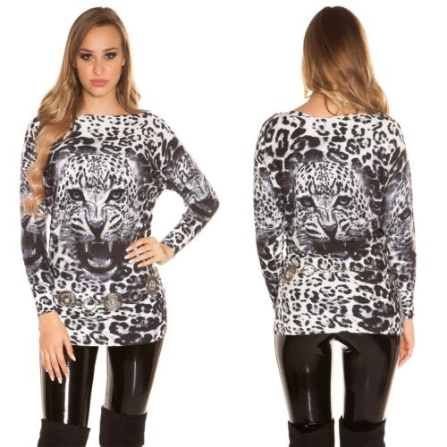 Koucla Longpullover Fledermauspullover Pullover mit Leopardenprint und Strass