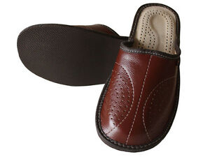 4104b5cf37b7 Mens Leather Slippers Slip On Shoes Size 7 8 9 10 11 12 13 UK Mules ...