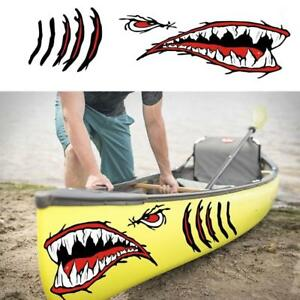 2x-Large-Shark-Teeth-Mouth-Eyes-Stickers-Fishing-Boat-Kayak-Cool-Decals-DIY
