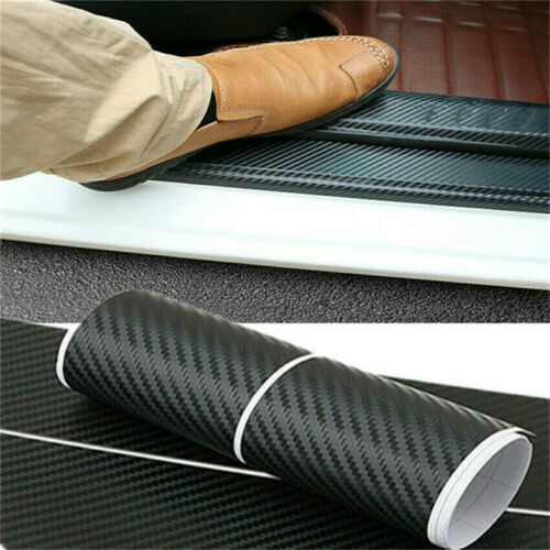 Carbon Fiber Leather Texture Car Door Sill Scuff Plate Sticker Auto Accessories