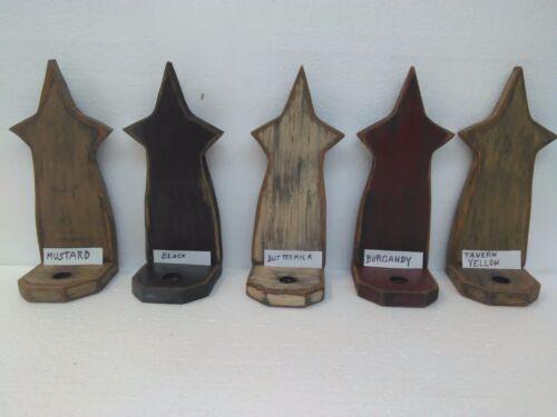 Primitive Country Folk Art Black Wood Star Candle Table Sconce Taper Holder