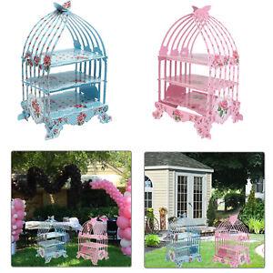 3 Ebenen Rosa Blau Vintage Vogelkafig Tortchen Stander Hochzeit Tee