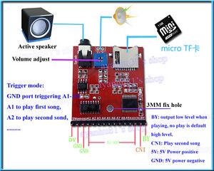 MP3 Voice Module SD/TF Voice Broadcast Trigger Player + Speaker for MCU SCM