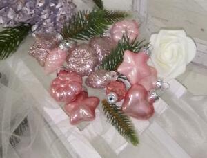 "12 Shabby Chic Pink Gold Glitter Shiny Christmas Ball Ornaments Decor 2.75/"""