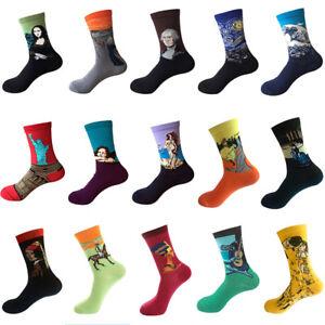 Fashion-Men-Women-Painting-Socks-Art-Funny-Novelty-Starry-Night-Retro-Long-Socks