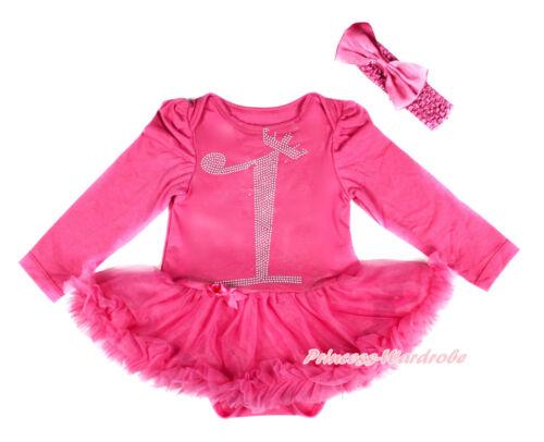 Baby Sparkle Crown 1ST Hot Pink Long Sleeve Bodysuit Hot Pink Skirt Dress NB-18M