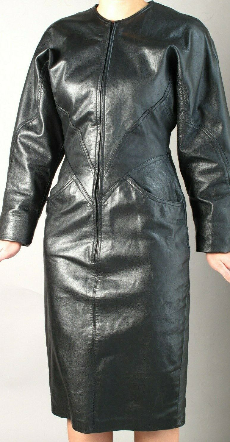 BLACK  LEATHER SHEATH  DRESS with ZIPPER FRONT  … - image 2