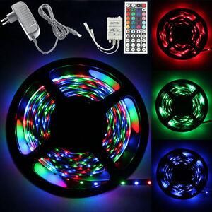5M-3528-RGB-300-Led-SMD-Flexible-Light-Strip-Lamp-44-key-IR-12V-2A-Power-Supply