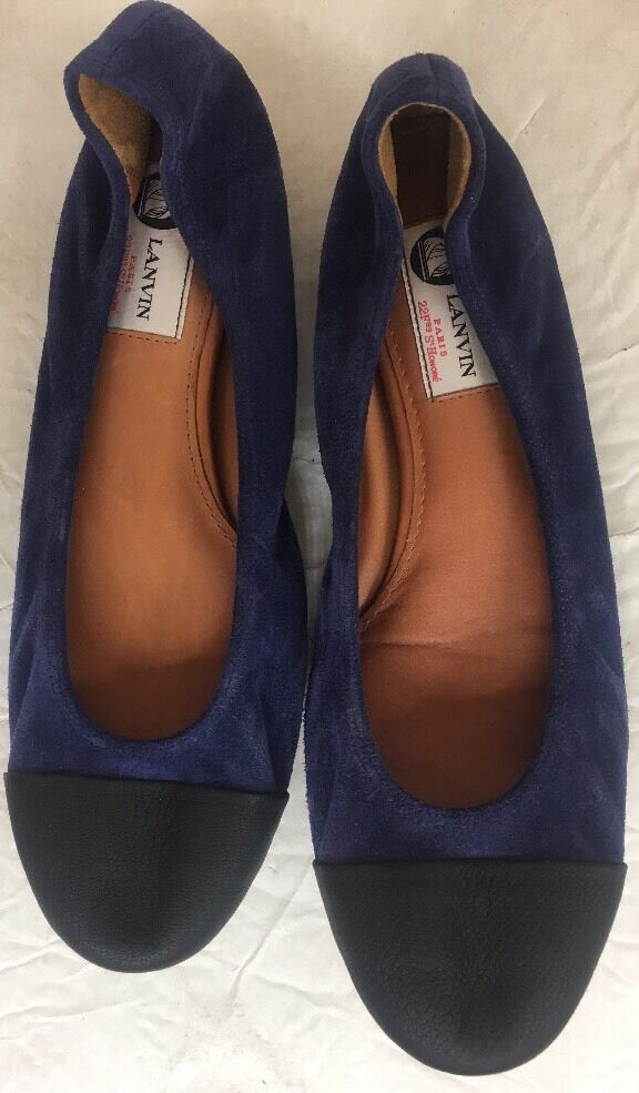 Lanvin Ballerina shoes bluee Suede And Black Leather Toe Size 40