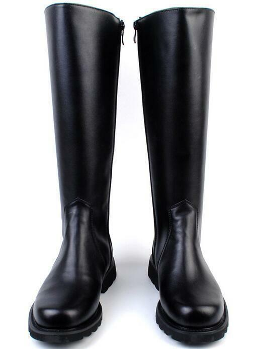 Uomo Military Knight Leather Combat Officer Boot Knee High Riding Boots Vintage