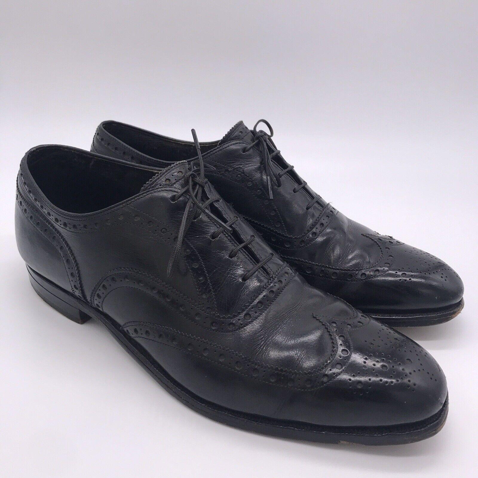 Vintage Johnston & Murphy Size 9 Black Leather Wingtip Brogue Oxford Dress Shoes
