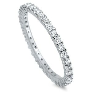 Sterling-Silver-925-STACKABLE-ETERNITY-CLEAR-CZ-BAND-DESIGN-RING-2MM-SIZES-4-12