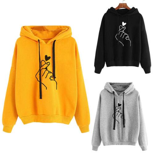 Womens Long Sleeve Heart Hoodie Sweatshirt Jumper Hooded Pullover Tops Blouse BL