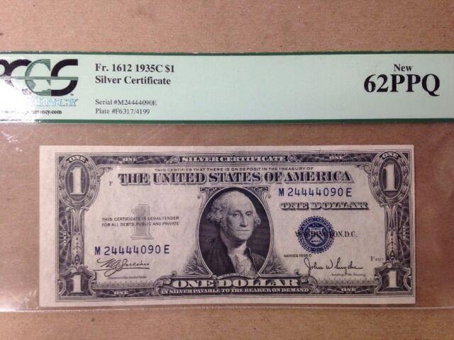 PCGS $1 Silver Certificate 1935C  62PPQ FR 1612