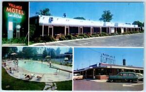 RAHWAY-New-Jersey-NJ-Roadside-VILLAGE-MOTEL-amp-SWIM-CLUB-1950s-Cars-Postcard